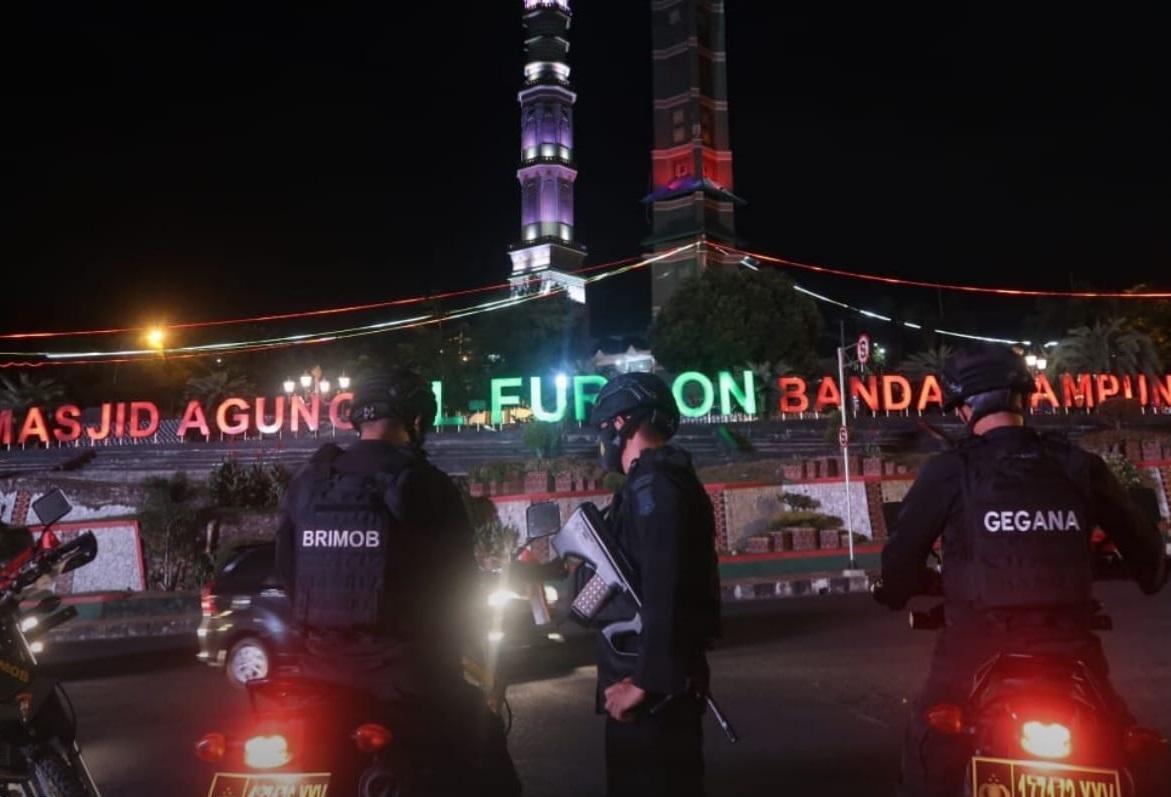 Gegana Lampung Pantau Situasi Kamtibmas dengan Laksanakan Patroli