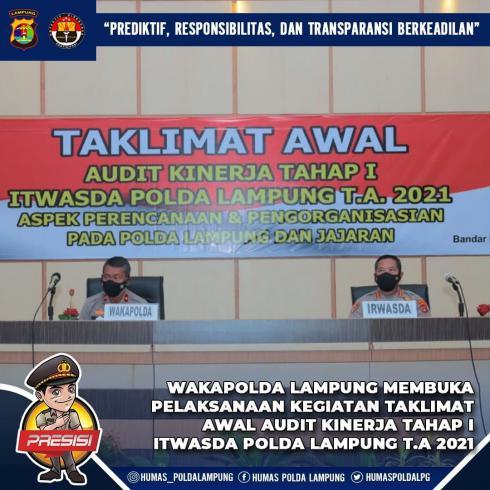 Wakapolda Lampung Brigjen Pol. Drs. Subiyanto membuka pelaksanaan kegiatan taklimat awal Audit Kiner